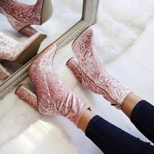 ✨Deal Of The Week✨Koko | Pink Velvet Ankle Booties